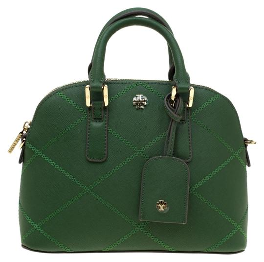 Preload https://img-static.tradesy.com/item/25383369/tory-burch-robinson-mini-stitched-green-leather-satchel-0-1-540-540.jpg