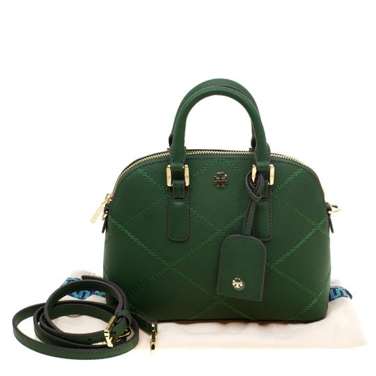 Tory Burch Leather Satchel in Green Image 10