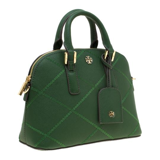 Tory Burch Leather Satchel in Green Image 3