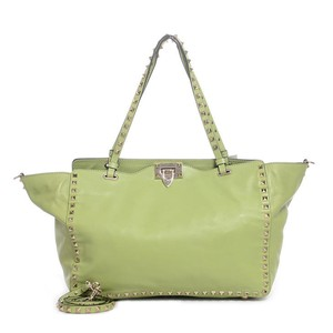 Valentino Small Rockstud Calfskin Satchel in Green