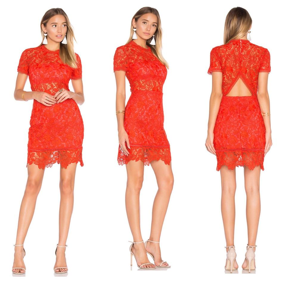 Lovers Friends Red Cut Out Back Lace Short Night Out Dress Size 12 L 57 Off Retail