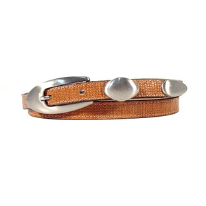 "B.B. Simon B.B. SIMON Textured Tan Leather Skinny Belt Women's M (29""-33"")"