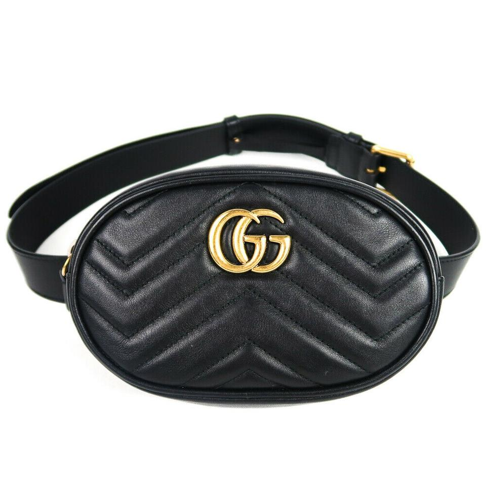 cbc7ca58bd01 Gucci Marmont Belt Gg Chevron Zip Quilted Gold Black Leather Cross Body Bag