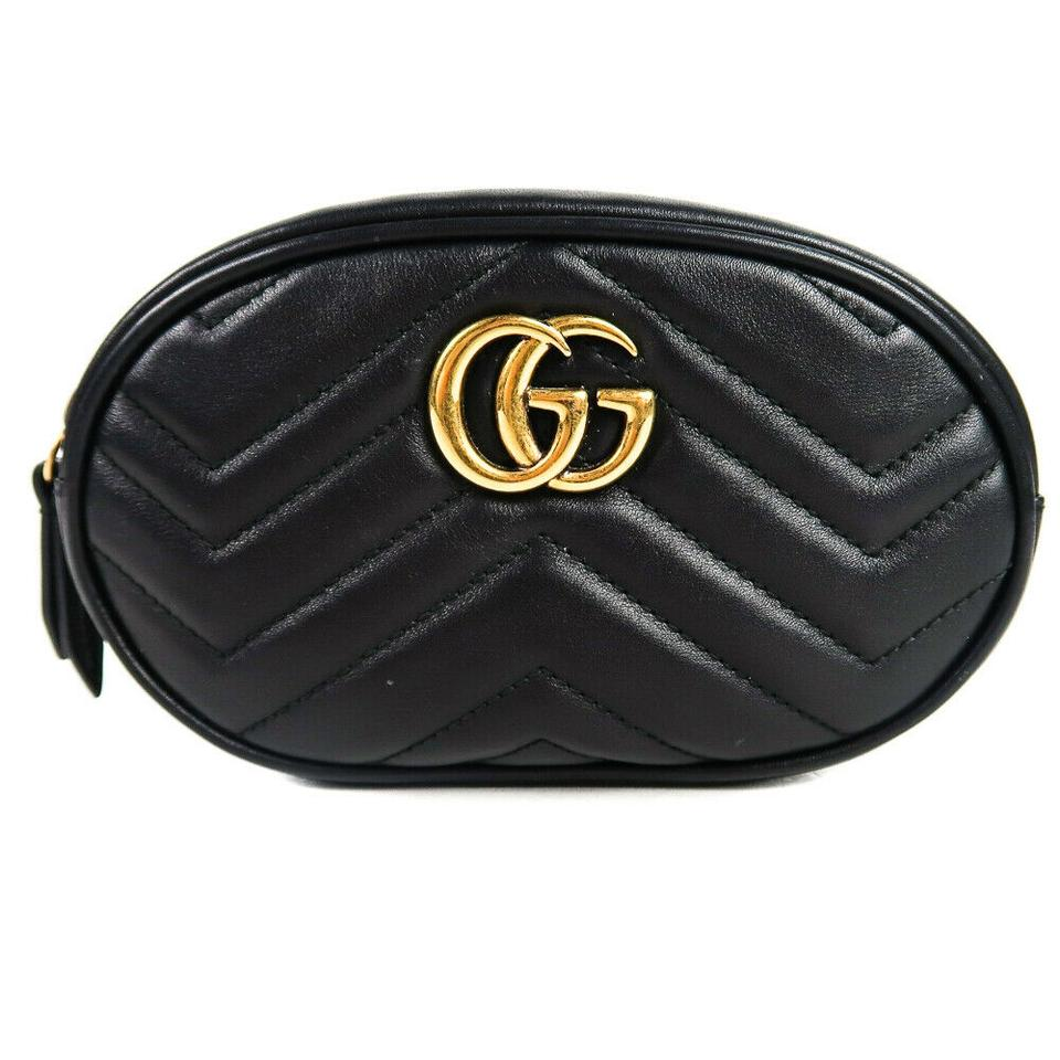 fa11d224c847 Gucci Marmont Belt Gg Chevron Zip Quilted Gold Black Leather Cross Body Bag  - Tradesy