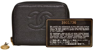 Chanel CC Logo Black Caviar Zippered Coin Purse Wallet