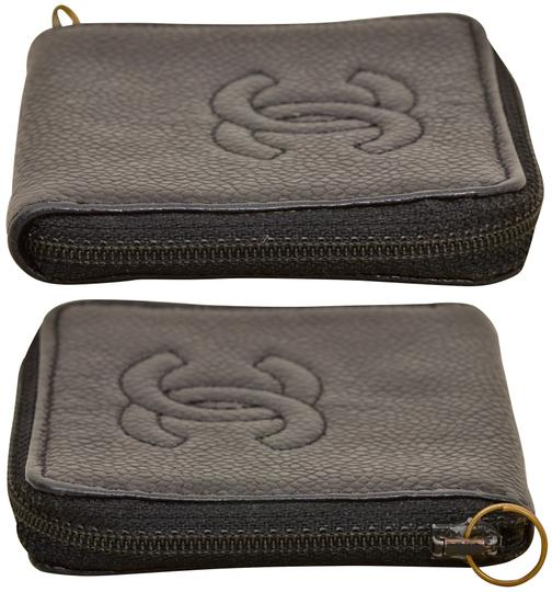 Chanel CC Logo Black Caviar Zippered Coin Purse Wallet Image 3