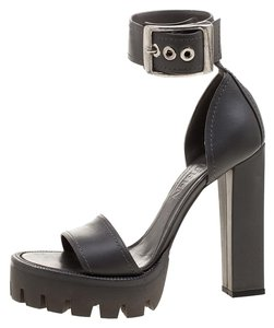 Alexander McQueen Leather Ankle Strap Grey Sandals