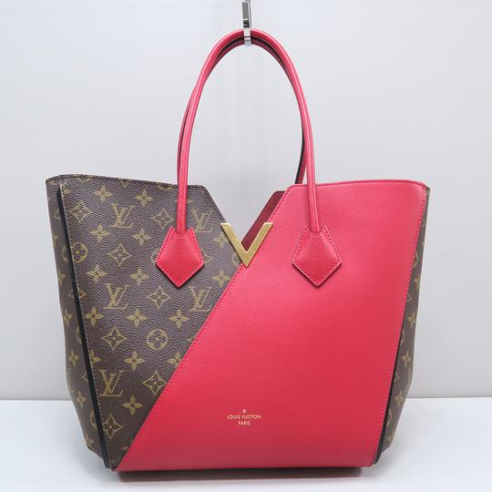 Louis Vuitton Lv Kimono Monogram Canvas Mm Tote in Brown&Red Image 1
