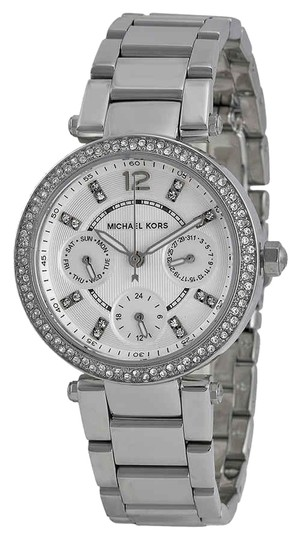 Preload https://img-static.tradesy.com/item/25384325/michael-kors-silver-tone-parker-arabic-numeral-stainless-steel-quartz-round-ladies-watch-0-1-540-540.jpg