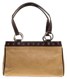 Versace Leather Tote in Beige