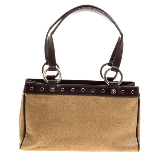 Versace Leather Tote in Beige Image 1