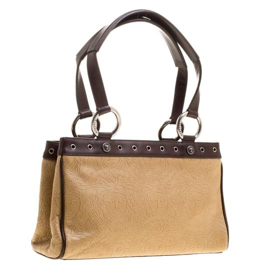 Versace Leather Tote in Beige Image 3