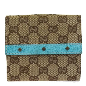 c842b4ee96ed Gucci GUCCI GG Pattern Studded Bifold Wallet Purse Leather Canvas Brown Blue