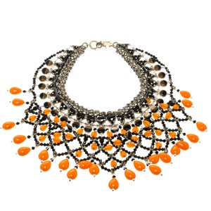Etro Multicolor Crystal Beaded Statement Drop Necklace