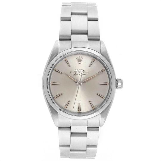 Rolex Rolex Air King Vintage Stainless Steel Silver Dial Mens Watch 5500 Image 1