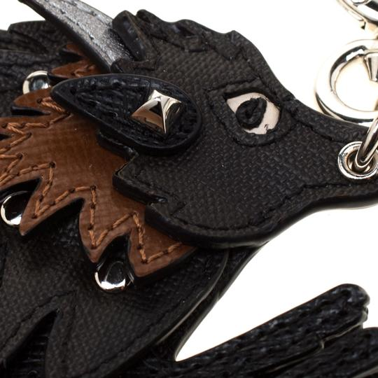 Burberry Beasts Black Leather Silver Tone Bag Charm Image 1