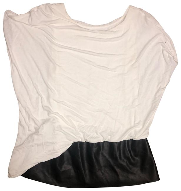 Preload https://img-static.tradesy.com/item/25384743/bailey-44-white-with-black-leather-blouse-size-4-s-0-1-650-650.jpg