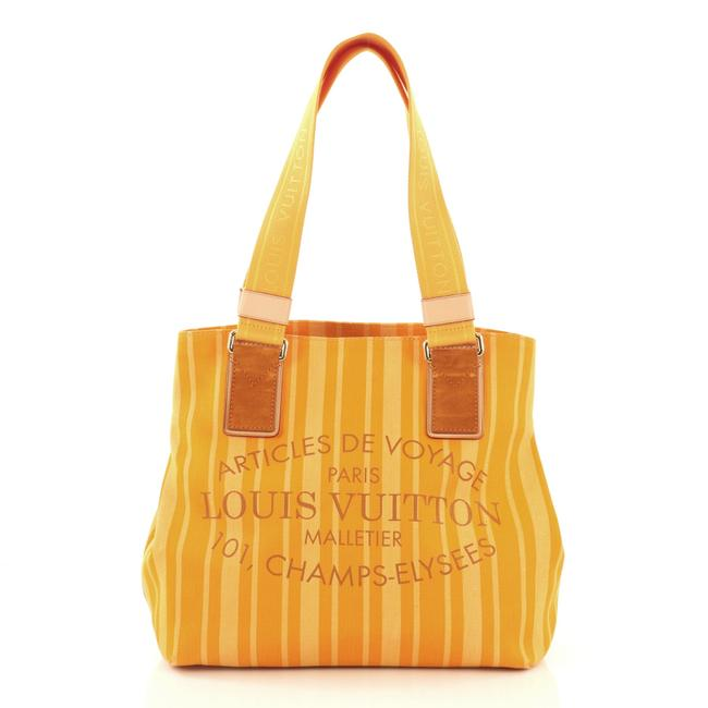 Item - Cabas Articles De Voyage Printed Pm Yellow and Orange Canvas Beach Bag