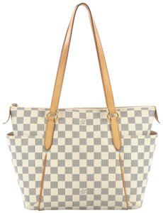 Louis Vuitton Leather Tote in damier azur