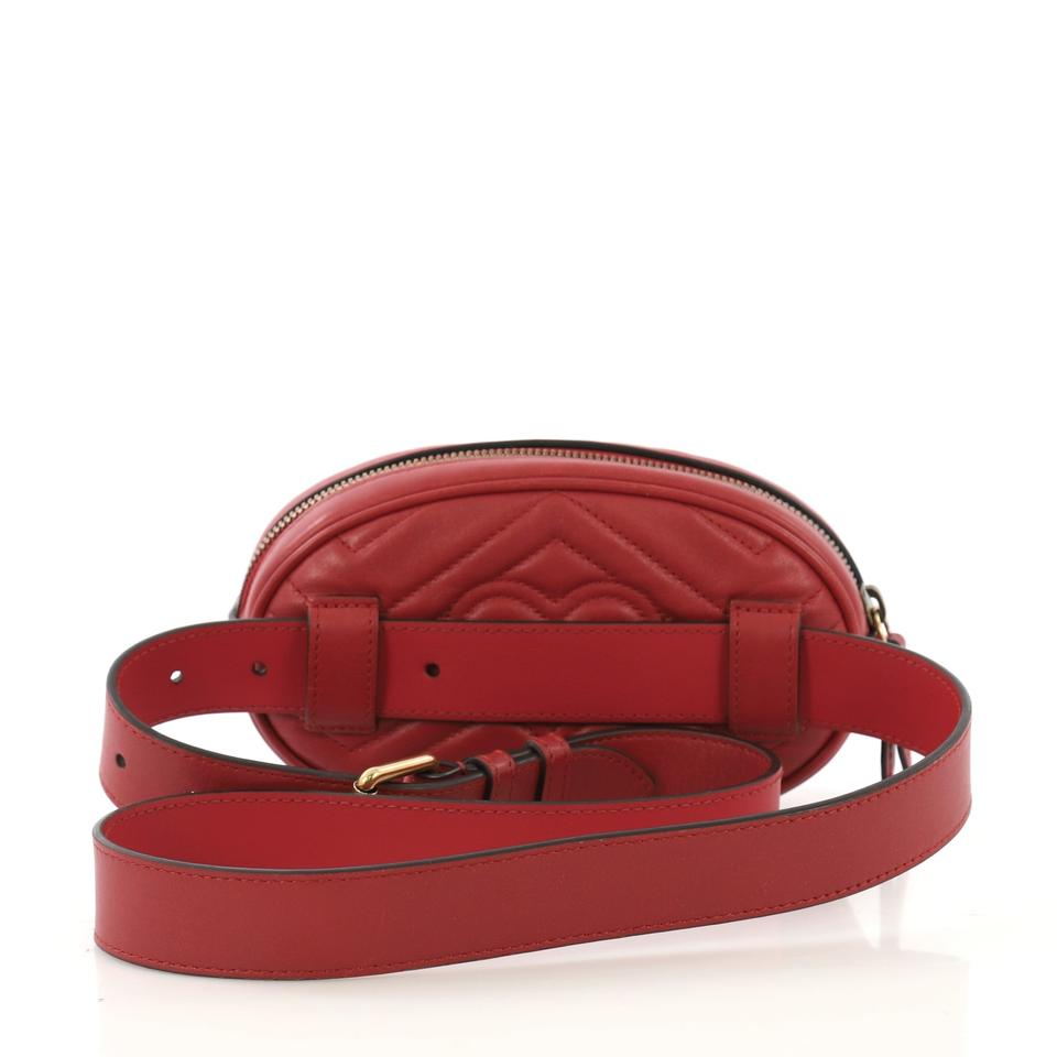 1b201d07b04a Gucci GG Marmont Belt Matelasse Red Leather Shoulder Bag - Tradesy