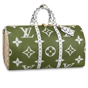 Louis Vuitton Beige & Khaki Green Travel Bag