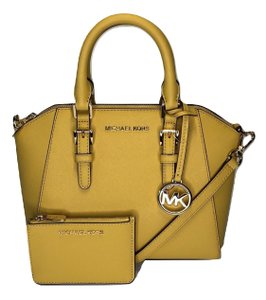 Michael Kors Leather Matching Wallet Satchel in Daisy Yellow