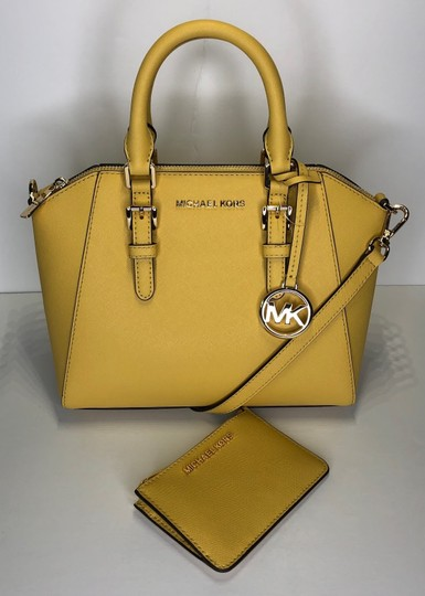 Michael Kors Leather Matching Wallet Satchel in Daisy Yellow Image 1