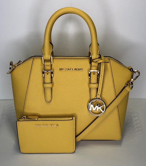Michael Kors Leather Matching Wallet Satchel in Daisy Yellow Image 11