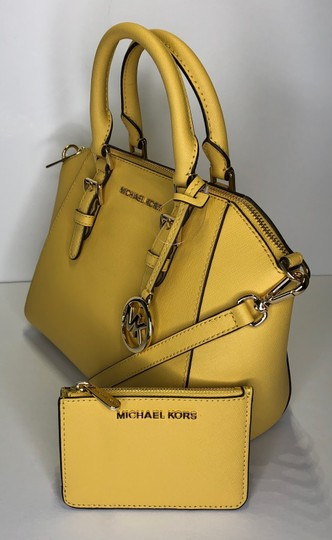 Michael Kors Leather Matching Wallet Satchel in Daisy Yellow Image 2