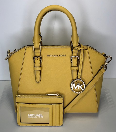Michael Kors Leather Matching Wallet Satchel in Daisy Yellow Image 3