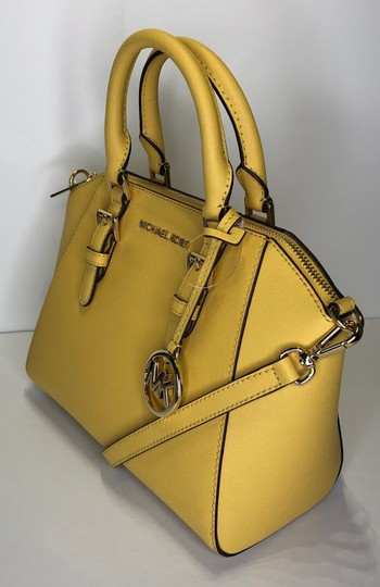 Michael Kors Leather Matching Wallet Satchel in Daisy Yellow Image 7