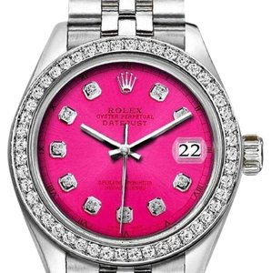 Rolex Rolex Silver and Pink 36mm Datejust with Diamond Hot Dial Custom Watch