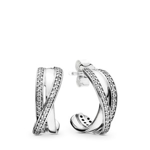 PANDORA Entwined Hoop Earrings, Clear CZ