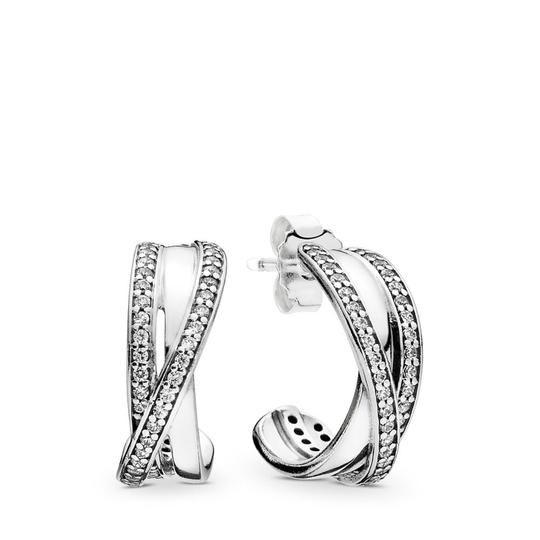 PANDORA Entwined Hoop Earrings, Clear CZ Image 2