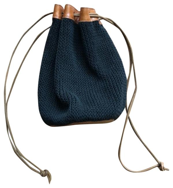 Item - Bucket Knitted Italian Black with Brown Leather Backpack