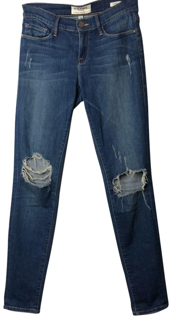 Item - Blue Medium Wash Le De Jeanne Distressed Skinny Jeans Size 2 (XS, 26)
