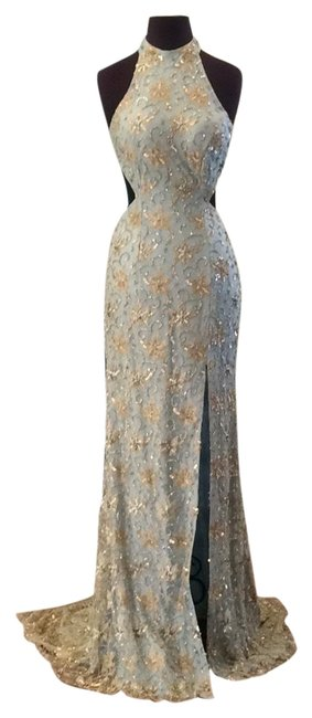 Item - Blue/Gold 52683 Long Formal Dress Size 6 (S)