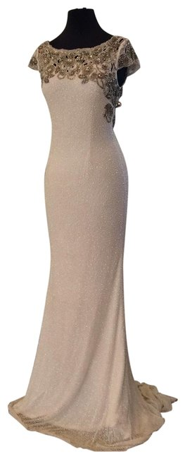 Item - Ivory/Gold 52308 Long Formal Dress Size 6 (S)