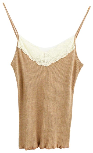 Item - Tan/ Ivory Lace Ribbed #170-381 Tank Top/Cami Size OS (one size)