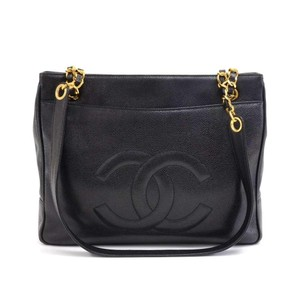 Chanel Vintage Caviar Gold Cc Logo Tote in Black