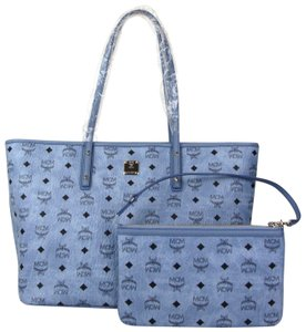 MCM Medium Anya Monogram Tote in Blue
