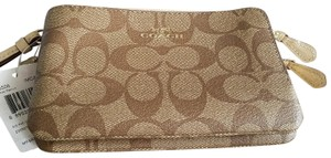 Coach Wristlet in Tan and Cream