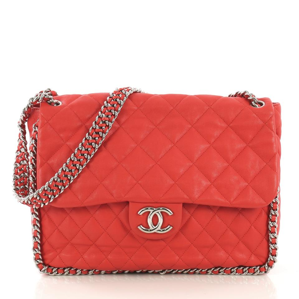 12a837a058c3 Chanel Classic Flap Chain Around Quilted Maxi Red Leather Shoulder Bag