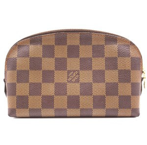 Louis Vuitton Lv Damier Vanity Cosmetic Brown Clutch