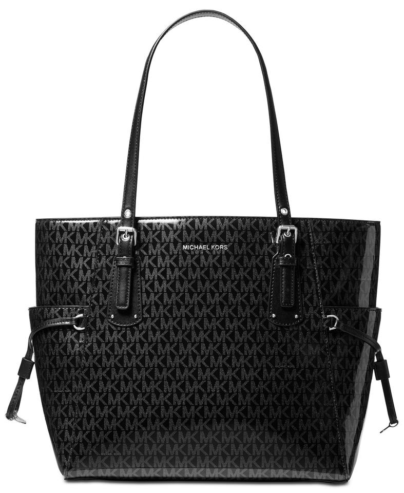 4e8aef649a35 Michael Kors Voyager Multifunction Glossy Signature Tote in Black Image 0  ...