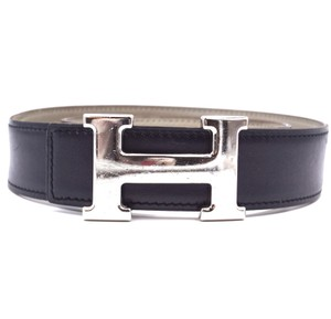 Hermès 32Mm classic silver H Reversible leather Belt Size 65