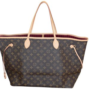 Louis Vuitton Lv Neverfull Never Full Mm Neverfull Gm Tote in Monogram with PINK textile lining