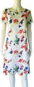 Sharagano short dress White, Multi-color, Lace Colorful on Tradesy