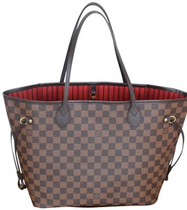 Louis Vuitton Lv Neverfull Never Full Mm Lv Canvas Tote in Damier Ebene with cherry textile lining