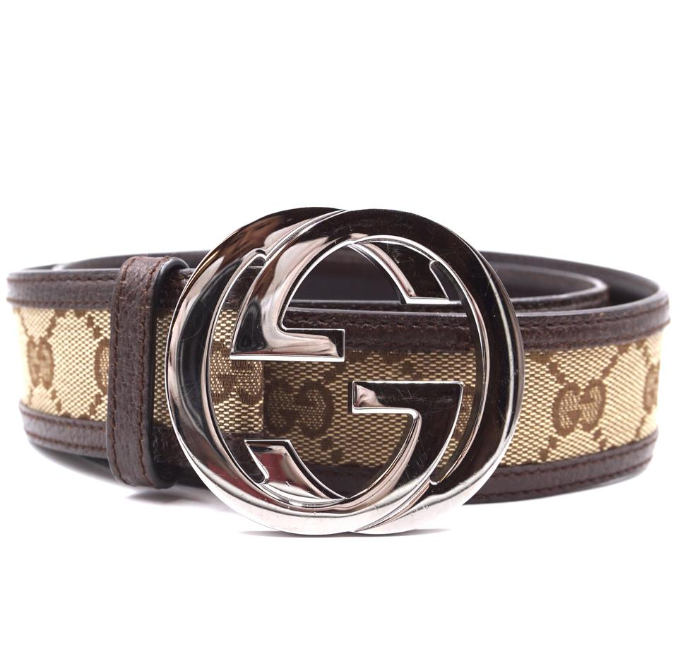 c0a4ba021 Gucci #29580 Beige Guccissima On Brown Gg Logo Silver Buckle Leather ...